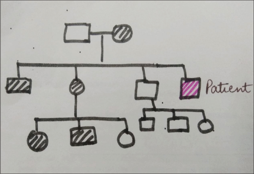 Figure 2: The pedigree chart of the family. The patient is shown by pink filling. The shaded boxes show the members to be suffering from FK